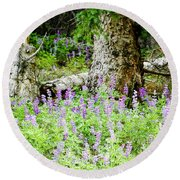 Meadow Lupine Round Beach Towel