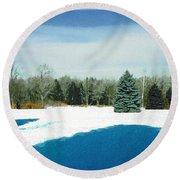 Meadow Snow Round Beach Towel