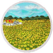Meadow With Yellow Dandelions, Oil Painting Round Beach Towel