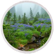 Meadows In The Mist Round Beach Towel