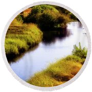 Meandering Channel Round Beach Towel