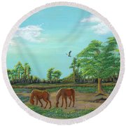 Meandering Mares Round Beach Towel