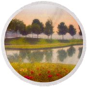 Measured Reflections Round Beach Towel
