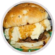 Meatloaf And Mashed Potato Sandwich Round Beach Towel