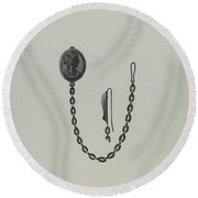 Medallion And Chain Round Beach Towel