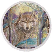 Medeina, Power And Strength Of The Forest Round Beach Towel