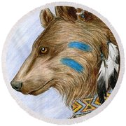 Medicine Bear Round Beach Towel