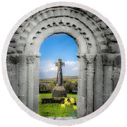 Medieval Arch And High Cross, County Clare, Ireland Round Beach Towel