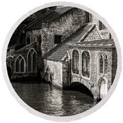 Medieval Architecture Of Bruges Round Beach Towel