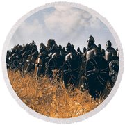 Medieval Army In Battle - 04 Round Beach Towel