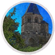 Medieval Bell Tower 1 Round Beach Towel