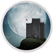 Medieval Castle At Night By Moonlight Round Beach Towel
