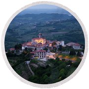 Medieval Hilltop Village Of Smartno Brda Slovenia At Dawn In The Round Beach Towel