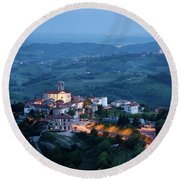 Medieval Hilltop Village Of Smartno Brda Slovenia At Dusk With S Round Beach Towel