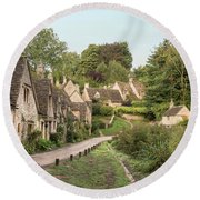 Medieval Houses In Arlington Row In Cotswolds Countryside Landsc Round Beach Towel