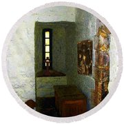 Medieval Monastic Cell Round Beach Towel