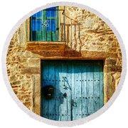 Medieval Spanish Gate And Balcony - Vintage Version Round Beach Towel