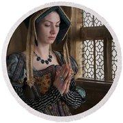 Medieval Tudor Woman At Prayer Round Beach Towel