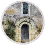 Medieval Window And Door Round Beach Towel