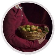 Medieval Woman Holding A Basket Of Apples Round Beach Towel