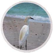 Meditating On The Sea Round Beach Towel