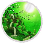 Meditating While Cherry Blossoms Fall In Green Round Beach Towel