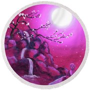 Meditating While Cherry Blossoms Fall Round Beach Towel