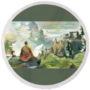 Meditating With Nature Round Beach Towel