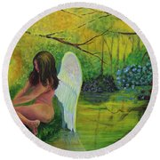 Meditation In Eden Round Beach Towel