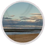 Meditation In The Coming Dusk. Round Beach Towel