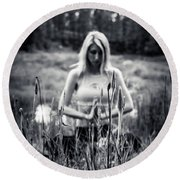 Meditation Meadow Bw Background Round Beach Towel