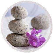 Meditation Stones Pink Flowers On White Sand Round Beach Towel
