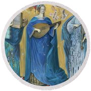 Meditations On The Holy Trinity  After The Music Of Olivier Messiaen, Round Beach Towel