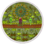 Meditative Garden Got Visit Of Lady Panda And The Floral Skulls Round Beach Towel