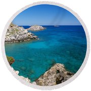 Mediterranean Blue Round Beach Towel