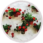 Mediterranean Flower Round Beach Towel