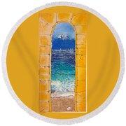 Mediterranean Meditation  Round Beach Towel