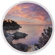 Mediterranean Sunrise Round Beach Towel