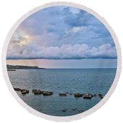 Mediterranean View II Round Beach Towel