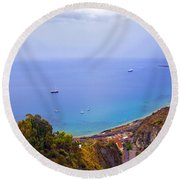 Mediterranean View Round Beach Towel