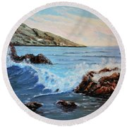 Mediterranean Wave Round Beach Towel