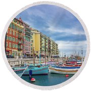 Meditteranean Life In Nice, France Round Beach Towel