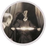 Medium During Seance 1912 Round Beach Towel