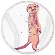 Meerkat, Digital Artwork Round Beach Towel
