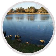 Meet Me At The Fountain Round Beach Towel