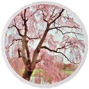 Meet Me Under The Pink Blooms Beside The Pond - Holmdel Park Round Beach Towel