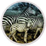 Meet The Zebras Round Beach Towel