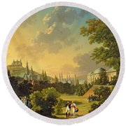 Meeting Between Napoleon I And Ferdinand IIi Round Beach Towel by Hippolyte Lecomte