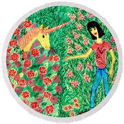 Meeting In The Rose Garden Round Beach Towel by Sushila Burgess