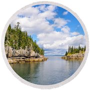 Meeting Of The Islands Round Beach Towel
